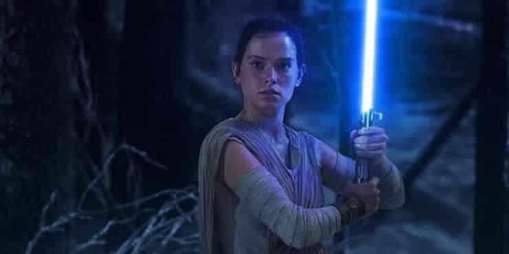 Rey With Anakin Skywalker Lightsaber Star Wars The Force Awakens